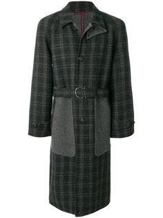 пальто в клетку с панельным дизайном Salvatore Ferragamo