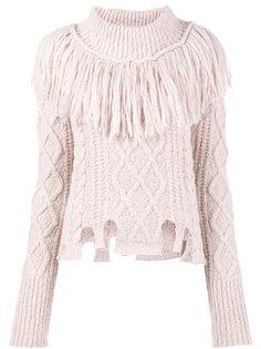 трикотажный свитер с высокой горловиной с бахромой Philosophy Di Lorenzo Serafini