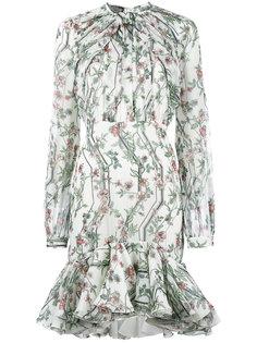 платье с рюшами с цветочным принтом Giambattista Valli