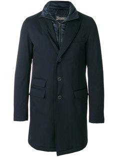 утепленное однобортное пальто Herno