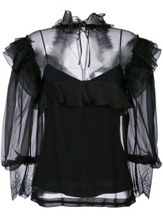 блузка с оторочкой из рюшей Alberta Ferretti