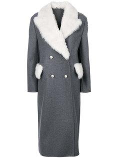длинное пальто с меховой отделкой  Ermanno Scervino