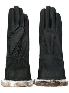 перчатки с подкладкой из меха Agnelle