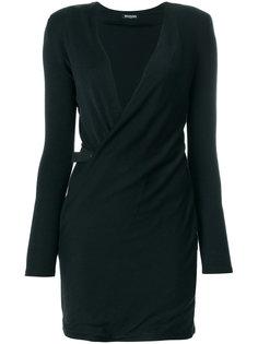 платье с V-образным вырезом и запахом Balmain