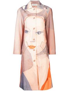 однобортное пальто с принтом Nina Ricci