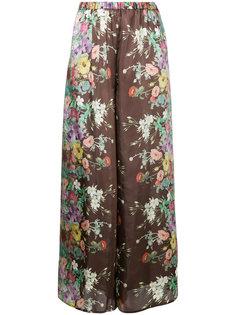 брюки-палаццо с цветочным принтом  Aula