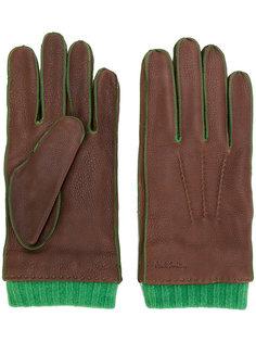 перчатки с отделкой в рубчик Paul Smith