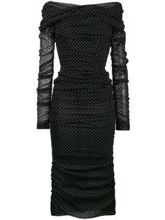 присборенное платье с открытыми плечами в горох Dolce & Gabbana