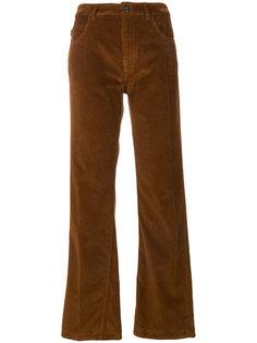 вельветовые брюки с высокой талией Prada