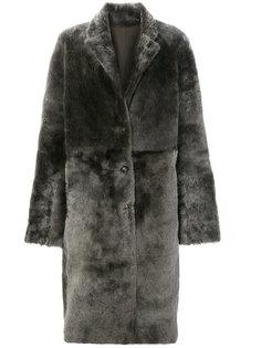 объемное пальто из овчины Joseph