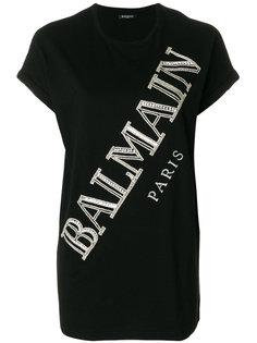 футболка с логотипом с кристаллами Balmain