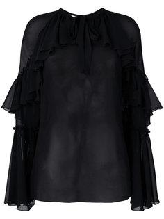 прозрачная блузка с оборками Giamba