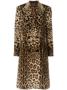 пальто с леопардовым узором Dolce & Gabbana