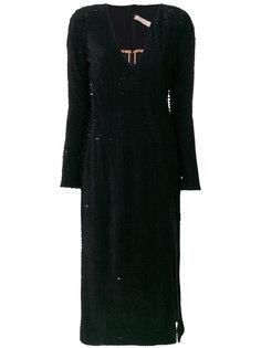 платье с разрезом и пайетками Maria Lucia Hohan