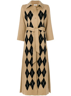 пальто в ромб с поясом на талии Attico