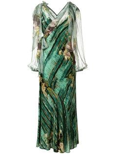 платье с абстрактным цветочным принтом Alberta Ferretti