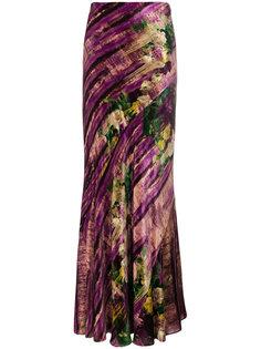 удлиненная юбка с абстрактным узором Alberta Ferretti