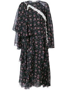 многослойное платье с цветочным принтом Giacobino