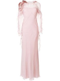 вечернее платье с оборками и длинными рукавами Alberta Ferretti