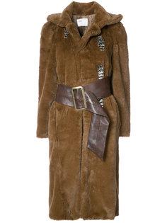 пальто из овчины с поясом Toga