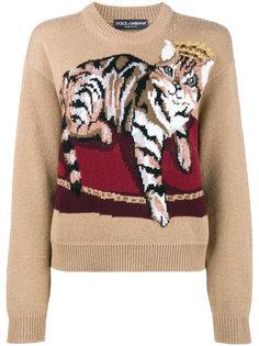 свитер с котом вязки интарсия Dolce & Gabbana