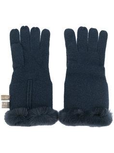 перчатки с меховой отделкой N.Peal
