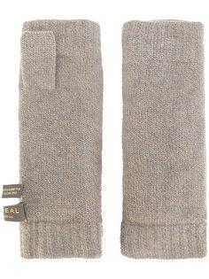 перчатки-митенки с меховой отделкой N.Peal