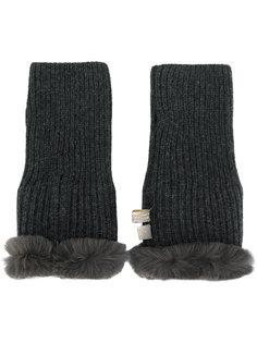 перчатки без пальцев с меховой оторочкой N.Peal