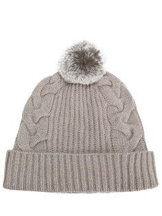 шапка с меховым помпоном N.Peal