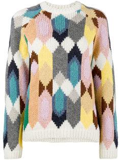 трикотажный свитер с геометрическим узором Prada