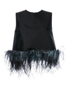 блузка с отделкой перьями Prada