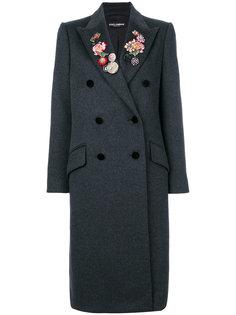 двубортное пальто с цветочной отделкой и стразами  Dolce & Gabbana