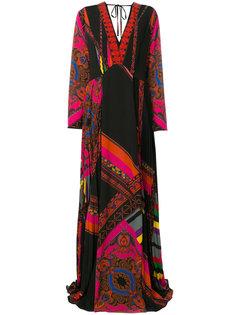 платье-макси с глубоким V-образным вырезом Etro
