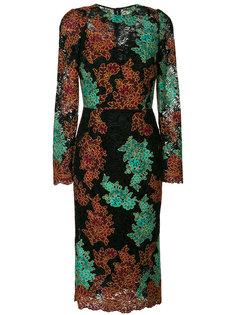 кружевное платье с вышивкой Dolce & Gabbana