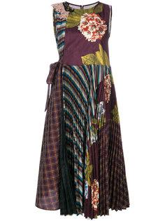 плиссированное платье с контрастным принтом  Antonio Marras