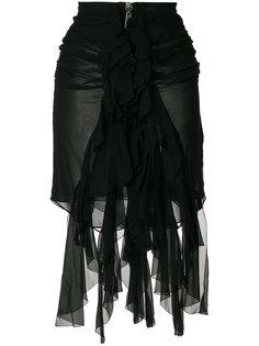 юбка мини с оборками Saint Laurent
