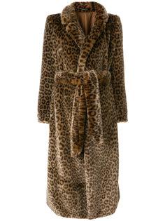 пальто с леопардовым узором и поясом Tagliatore
