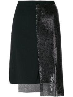 юбка с пайетками и панельным дизайном Paco Rabanne