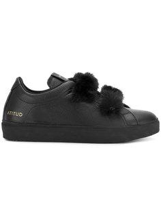 кроссовки с искусственным мехом Leather Crown