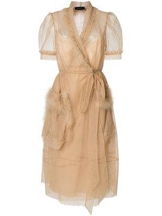 платье с запахом и отделкой перьями  Simone Rocha