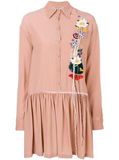 платье на пуговицах с цветочной отделкой  Piccione.Piccione