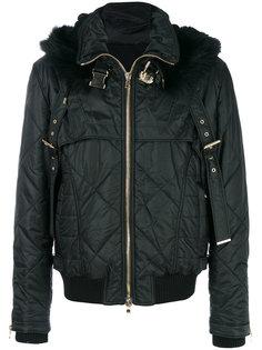 стеганая куртка с оторочкой мехом сурка Balmain