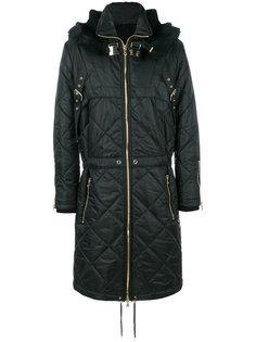 стеганое пальто с отделкой из меха сурка Balmain
