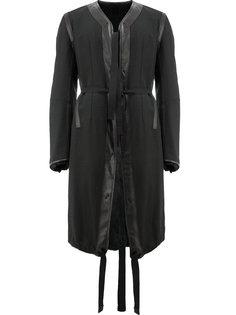 пальто с завязками и меховыми манжетами Takahiromiyashita The Soloist