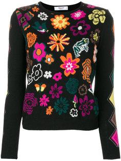 свитер с цветочной интарсией Blugirl
