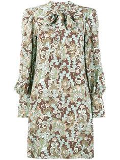 платье-мини с воротником-стойкой с бантом и принтом пейсли Chloé
