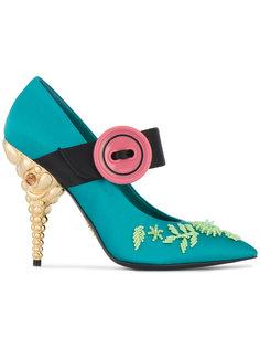 туфли с цветочной вышивкой Prada