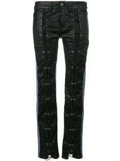 джинсы скинни средней посадки с кожаными панелями спереди Filles A Papa