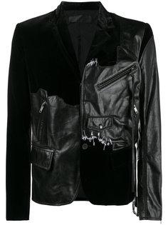 кожано-бархатный пиджак Transgressive Haider Ackermann