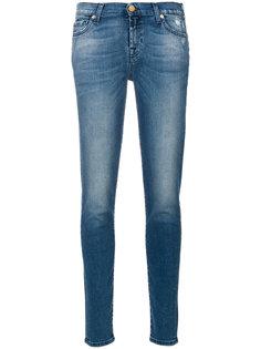 классические джинсы скинни с потертостями 7 For All Mankind